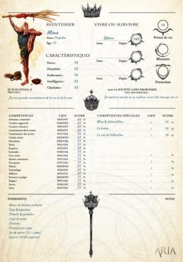 Illustration intégrée à la fiche de personnage de Poulpidou pour le JDR Aria
