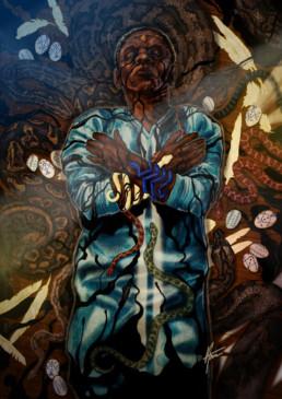 Illustration couleurs de Damballa pour le livre univers Mississippi de Christophe Gérard, Tirodem