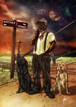 Illustration couleurs de Papa Legba pour le livre univers Mississippi de Christophe Gérard, Tirodem